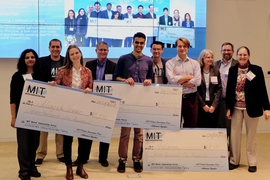 On Wednesday night, Oasis, a student team from Georgia Tech (center), won the $15,000 grand prize in the MIT Water Innovation Prize competition for its simple, inexpensive test for detecting E. coli in drinking water in India. Second-place prizes for $7,500 went to Velaron (right), developing a smart sensor system for aquaculture shrimp farmers, and Majik Water (left), developing a system that use...