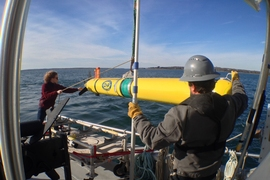 WHOI and MIT researchers deploy an autonomous underwater vehicle to test new navigation and sensing algorithms.