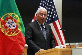 Prime Minister of Portugal António Costa gave a speech to a full house in the Kirsch Auditorium at the Stata Center, which included many students in the MIT Portugal Program.