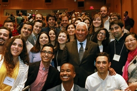 Prime Minister António Costa poses for photos after speeches in the Kirsch Auditorium of the Stata Center with students in the MIT Portugal Program.