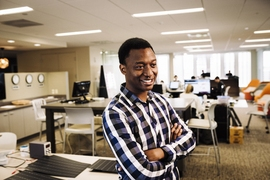 """The best thing about being at MIT is that people are working on all these cool, different things that they're passionate about,"" says graduate student Prosper Nyovanie. ""I think there's a lot of clarity that you can get just by going outside of your circle and talking to people."""