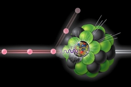 In an Electron-Ion Collider, a beam of electrons (e-) would scatter off a beam of protons or atomic nuclei, generating virtual photons (λ) — particles of light that penetrate the proton or nucleus to tease out the structure of the quarks and gluons within.