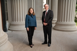 After 12 years of service at MIT, Senior Vice President and Secretary of the MIT Corporation R. Gregory Morgan (right) will step down at the end of this year. He will be succeeded by Suzanne Glassburn (left), who has been an attorney in MIT's Office of the General Counsel since 2008.
