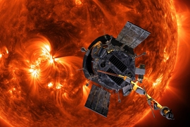 Illustration of NASA's Parker Solar Probe in front of the Sun.