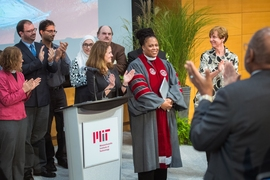 Caption: Reverend Kirstin Boswell-Ford was installed as MIT Chaplain at a ceremony on Sept. 28.