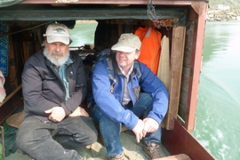 Sam Bowring (left) and Doug Erwin (National Museum of Natural History, right) en route to the Penglaitan section.