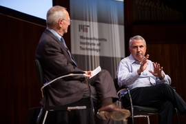 MIT President L. Rafael Reif, left, and columnist Thomas L. Friedman of The New York Times, during a question-and-answer session after Friedman gave the Fall 2018 Compton Lecture at MIT, Monday, October 1, 2018.