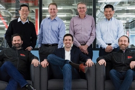 Desktop Metal co-founders (seated left to right): Ric Fulop, CEO and co-founder; A. John Hart, MIT professor; Jonah Myerberg, CTO; (standing left to right): Yet Ming-Chiang, MIT professor; Chris Schuh, MIT professor; Ely Sachs, MIT professor; Rick Chin, VP of Software