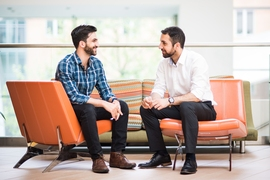 Alexi Choueiri  (left) and Mahdi Ramadan, both evacuees from Lebanon, met at MIT 11 years after leaving their homeland on the same boat.