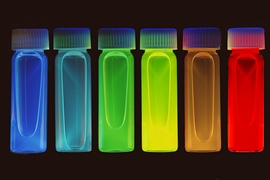 Quantum dots fluorescing at various wavelengths. Research by Moungi Bawendi.