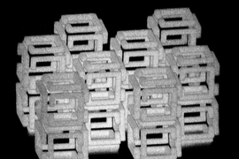 MIT engineers have devised a way to create 3-D nanoscale objects by patterning a larger structure with a laser and then shrinking it.  This image shows a complex structure prior to shrinking.