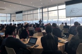 Professor Antonio Torralba, MIT director of the MIT—IBM Watson AI Lab and the inaugural director of the MIT Quest for Intelligence, addresses the audience at the MIT AI Policy Congress on Jan. 15.