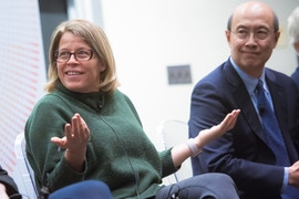 Katie Rae, president and CEO of The Engine, and Andrew Lo, professor of economics at the Sloan School.
