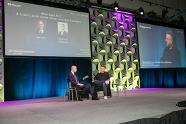 NBA Commissioner Adam Silver, left, speaks with journalist Bill Simmons, right, at the MIT Sloan Sports Analytics Conference, Friday, March 1, 2019.