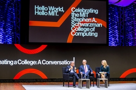 (L-R) Stephen A. Schwarzman and MIT president L. Rafael Reif in a conversation moderated by Becky Quick of CNBC