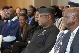 Sierra Leone President Julius Maada Bio, center, spoke during the Sierra Leone delegation visit on March 7, 2019 at MIT.