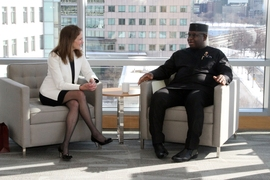 MIT Chancellor Cindy Barnhart and Republic of Sierra Leone President Julius Maada Bio met for informal discussions during the visit of the Sierra Leone delegation.