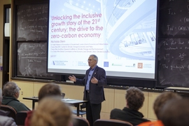 The economist Lord Nicholas Stern delivers the MIT Undergraduate Economics Association's annual lecture, on climate economics, at MIT on Tuesday, April 9, 2019.