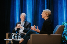 Stephen Pike, CEO of MassCEC (Clean Energy Center), and Emily Reichert, CEO of Greentown Labs, discussed the best ways to foster innovation and entrepreneurship in the clean energy sector.