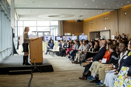 The 18th annual MIT IDEAS showcase and awards attracted around 200 people to the Samberg Conference Center to learn about student projects in social entrepreneurship and innovation on Saturday.