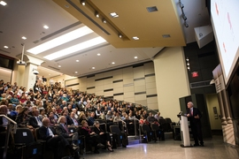 MIT's Room 10-250 was packed for the James R. Killian Jr. Faculty Achievement Award Lecture, delivered by Gerald Fink.