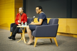 Beverly Daniel Tatum (left), president emerita of Spelman College, and Melissa Nobles (right), the Kenan Sahin Dean of the School of Humanities, Arts, and Social Sciences at MIT, discussed racial relations in the U.S., on April 18 at MIT.