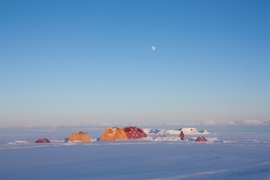 Ice core field camp on a clear spring evening, Disko Island Ice Cap, west Greenland.