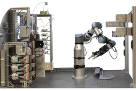 Guided by artificial intelligence and powered by a robotic platform, a system developed by MIT researchers moves a step closer to automating the production of small molecules.