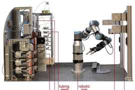 "The new system combines three main steps. First, software guided by artificial intelligence suggests a route for synthesizing a molecule, then expert chemists review this route and refine it into a chemical ""recipe,"" and finally the recipe is sent to a robotic platform that automatically assembles the hardware and performs the reactions that build the molecule."