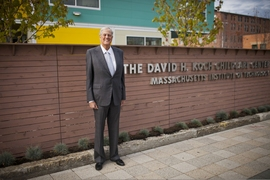 David Koch during a visit to MIT on Oct. 4 2013 to dedicate the Koch Childcare Center on Vassar Street