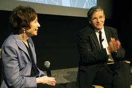 Suzanne Berger, MIT's inaugural John M Deutch Institute Professor, and Jan-Werner Mueller, professor of politics at Princeton University, speak on the panel at MIT's Starr Forum event on global populism, Sept. 12.
