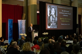 MIT President L. Rafael Reif addresses the crowd at this year's MLK Jr. celebration luncheon.