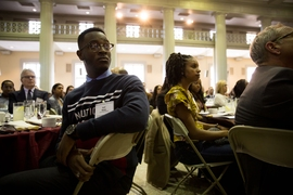 The audience listens as speakers address the gathering for the 2020 MIT Martin Luther King Jr. Celebration luncheon.