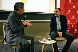 Luis Videgaray (right), director of MIT's AI Policy for the World Project, talking with professor of political science Kenneth Oye (left), at Videgaray's Starr Forum lecture, hosted by the Center for International Studies, on February 19, 2020.