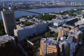 An aerial view of MIT's campus