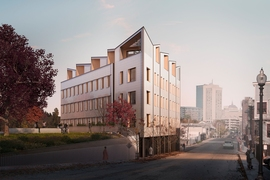 View from the street side depicts the new five-story, 14-unit residential building, which will be one of the largest mass-timber residential buildings in the U.S.