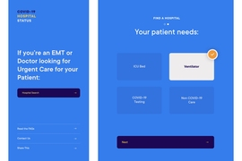 This mock-up shows how EMTs, doctors and patients can use the app to select and identify which hospitals have availability.