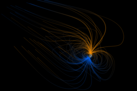 This visualization shows the magnetic field around Earth, or the magnetosphere. Earth's magnetic field origins are still a mystery, a new MIT study finds.