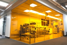 "Canan Dagdeviren, an assistant professor at the MIT Media Lab, has implemented lean management principles in her cleanroom lab space, also called ""YellowBox."""