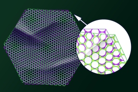 "In this illustration, two sheets of graphene are stacked together at a slightly offset ""magic"" angle, which can become either an insulator or superconductor. ""We placed one sheet of graphene on top of another, similar to placing plastic wrap on top of plastic wrap,"" MIT professor Pablo Jarillo-Herrero says. ""You would expect there would be wrinkles, and regions where the two sheets would..."