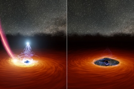 Astronomers at MIT and elsewhere watched a black hole's corona disappear, then reappear, for first time. A colliding star may have triggered the drastic transformation.