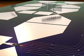 This graphic depicts a stylized rendering of the quantum photonic chip and its assembly process. The bottom half of the image shows a functioning quantum micro-chiplet (QMC), which emits single-photon pulses that are routed and manipulated on a photonic integrated circuit (PIC). The top half of the image shows how this chip is made: Diamond QMCs are fabricated separately and then transferred into ...
