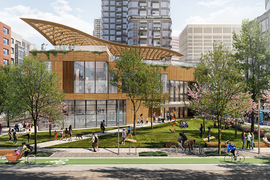 Conceptual rendering of a proposed community center surrounded by trees and existing Kendall Square buildings