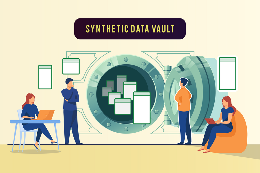 Illustration of four people near a vault that has data (in the form of blank operating system windows) floating in and around it
