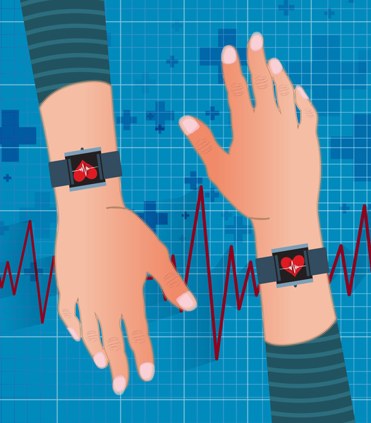 An illustration of two hands, each wearing a fitbit-like device showing a heart on the screen.