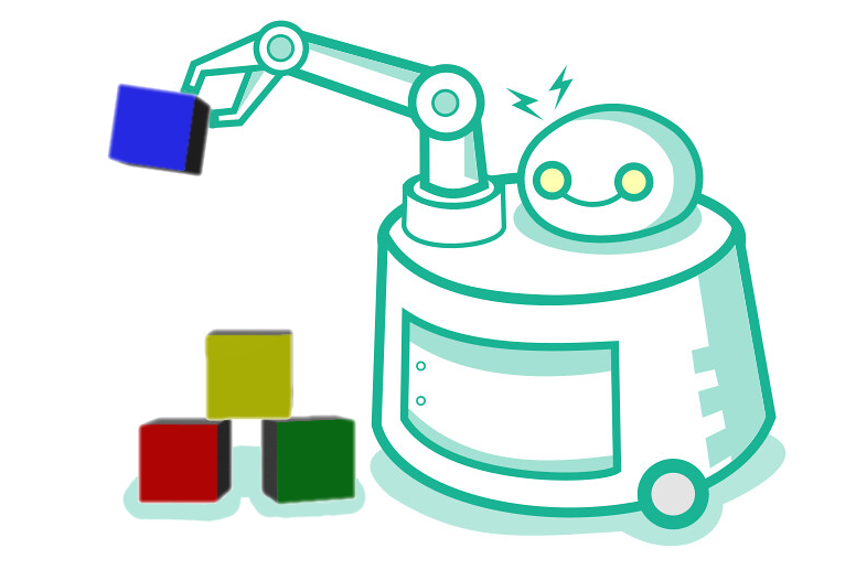 Illustration of a robot with a single arm holding a blue block above a pile of other-colored blocks