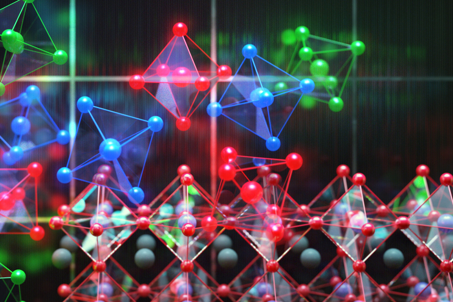 perovskite crystals shown as the colorful units