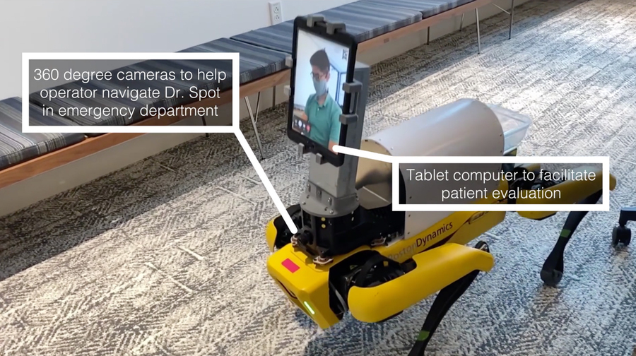 four-legged robot with tablet attached