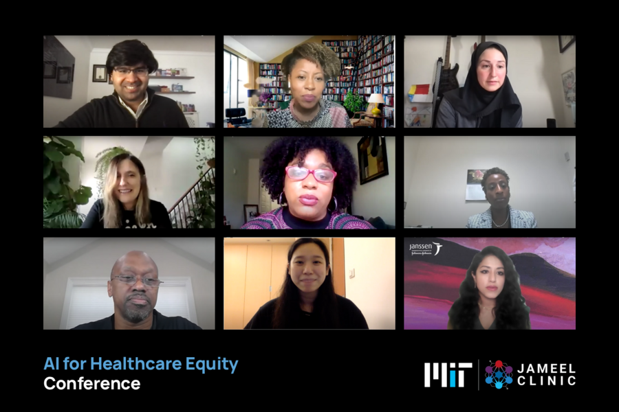 Screenshot of a 3 by 3 grid of nine speakers at the AI for Health Care Equity Conference