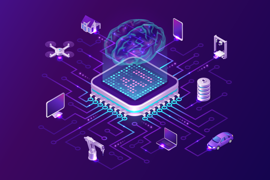 Conceptual graphic illustration with a purple background showing a brain superimposed on a computer chip, with icons representing applications (computer, drone, crane, car, etc) all around